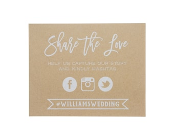 Share the Love Kraft Wedding Sign ~ Social Media Wedding Sign ~Social Media Art Print