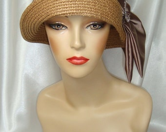 Taupe 1920s Straw Cloche Hat, Downton Abbey and Phryne Fisher Inspired