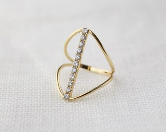 14k gold diamond vertical bar ring, white diamond ring, pave diamond ring, bar-r103