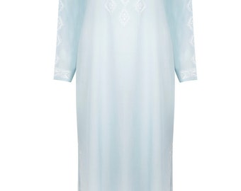 The Cleo - Long Blue Beach Kaftan/Maxi Dress, Cover-up, Caftan with Hand-Embroidery
