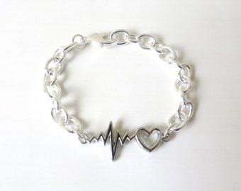 Medical Worker Doctor Nurse Heartbeat Vital Sign Bracelet YOU Choose Chain Length