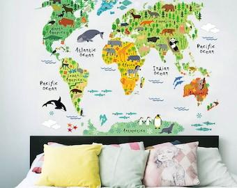 World Map Wall Decal Sticker / World Map Sticker