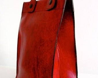 Vintage 60s dark red vinyl leather tote bag