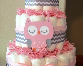3 tier pink owl diaper cake, Woodland themed diaper cake, forest animals baby shower decoration, baby girl gift, baby owl centerpiece