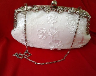 white floral lace wedding bridal prom evening summer bridesmaid clutch purse BBsCustumClutches