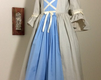 Colonial Dress in Blue READY to ship in girl's size 6/7
