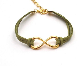 Olive Faux Suede Cord Infinity Link Bracelet