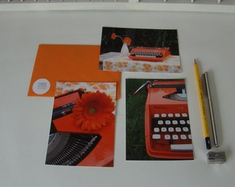 Card set retro typewriter Orange-three different cards-set of 8 postcards-write tickets-typewriter-typewriter