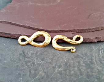 Large Hammered Matte Gold Hook and Loop Clasp C87,Hammered Gold Clasp,Gold Hook Loop Clasp,Brushed Gold Clasp,Matte Gold Clasp