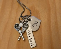 Hand Stamped Lacrosse Necklace Lacrosse Mom - Girls Lacrosse Necklace - Personalized Lacrosse Necklace