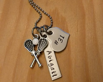 Hand Stamped Personalized Lacrosse Necklace - Girls Lacrosse Gift - LAX Team Gift - Lacrosse Gifts