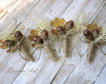 Fall Wedding Boutonnieres Groom Boutonnieres Oak Cones Leaf Boutonnieres Groomsmen Boutonnieres