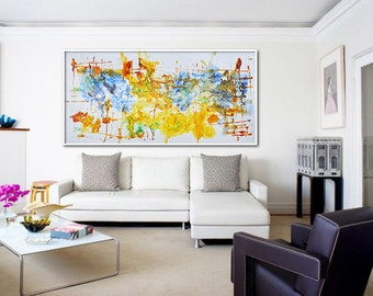 """Large Contemporary Art, Oil Painting On Canvas, Original Art. One-of-a-kind, IN STOCK, 36""""x72"""". Yellow, brown, blue, green."""