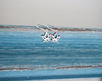 Tiny Lotus Earrings in Sterling Silver, Small Flower Earrings, Sterling Silver Earrings, Petite Drop Earrings