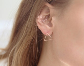 Rose Gold Triangle Cut Out Stud Earrings
