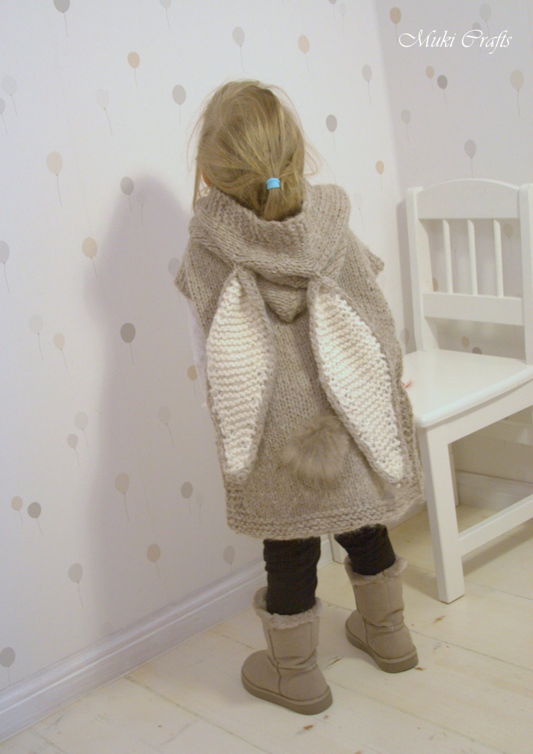 Knitting Pattern Chunky Hooded Poncho Phoebe Toddler By