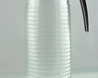 Vintage Valira Tall Ribbed Glass Jug With Chrome-Effect Easy-Slide Spout - from Spain