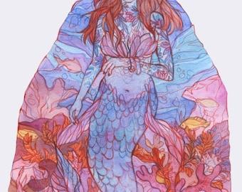 Sea Princess - Original Art - Watercolor Painting  - Mermaid