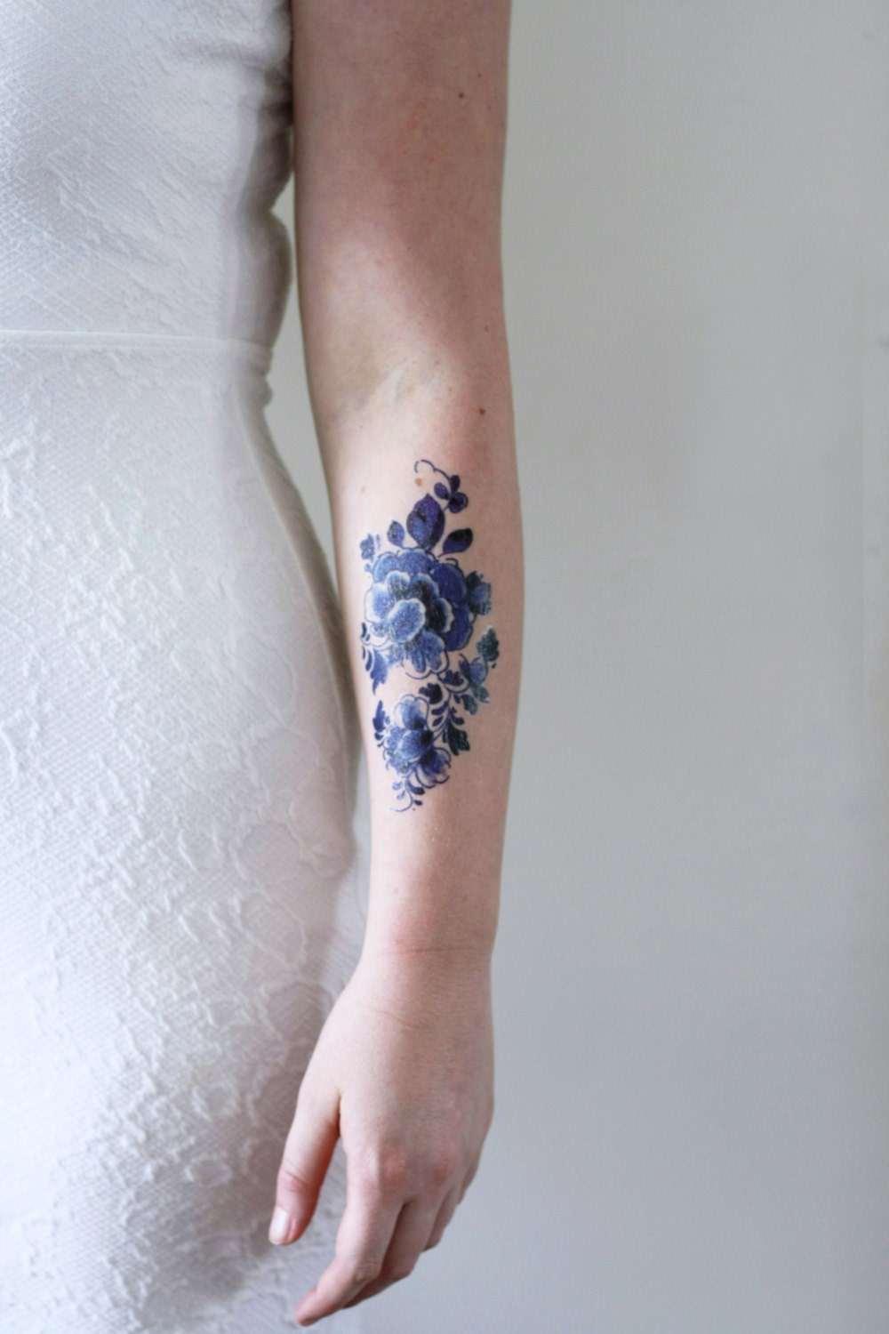 Floral temporary tattoo delft blue temporary tattoo flower for Floral temporary tattoos