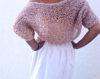 Blush mohair shrug, wedding bolero, pink shrug, wedding dress cover, knit pink bolero, women gifts