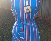 Red White and Blue Vintage Jeri-Ann Fashion Beach Romper Cover Up