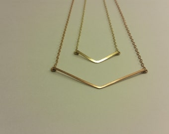 Gold Chevron Necklaces, Gold Necklace Layered, V Necklaces, Tiny Chevron Necklace, Necklace Chevron Small, Chevron Necklace Gold, Geometric