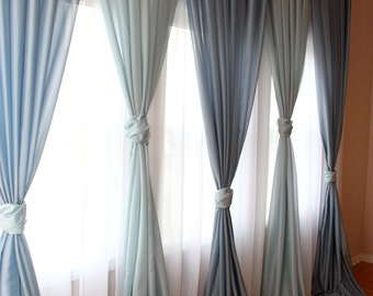 "FREE Shipping - Inverted Pleated Voile Drapery ""Blue"", Window Sheers, Sheer Curtains, Drapes,  Made-to-Order"