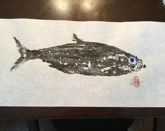 Coastal living decor/beach print art/herring/gyotaku/fish prints/fish decor/sealife decor/coastal decor/beach decor/summer home decor/#C79
