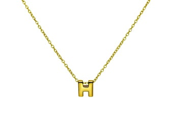 """Gold H Pendant Necklace, Vermeil Gold Initial """"H"""" Letter Charm Necklace, Personalized Gift Ideas"""
