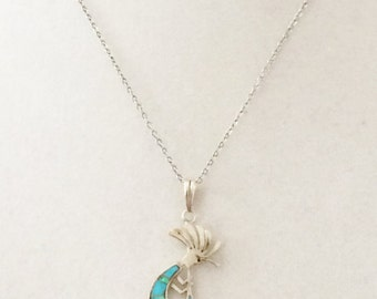 Sterling Silver Turquoise And Opal Pendant Necklace 18""