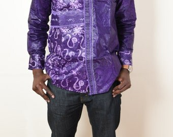 MEN  African Shirt  - PURPLE EMBROIDED