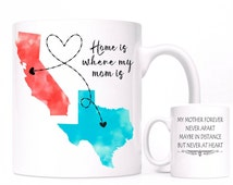 Gift For MOM, Long Distance Relationship Coffee Mug, All States Available, Home is Where My Mom is Mug, Mother's Day Gift from Daughter,