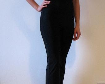 Black Backless Minimal Bell Bottom Catsuit Unitard Jumpsuit Dancewear Yogawear L
