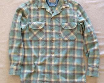 Men's Wool Gingham Flannel Camp shirt