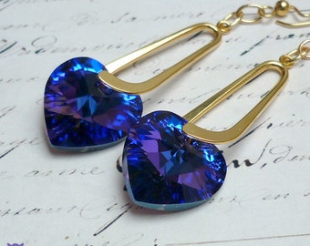 Gifts for Her, Heliotrope Swarovski Crystal Earrings, Purple Crystal Heart Earrings, Bridal Jewelry, Valentine's Day Gift.