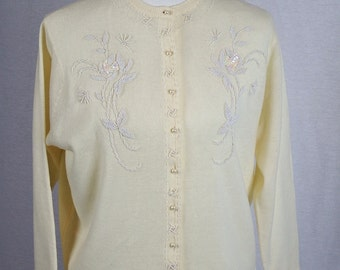 Beautiful Vintage Ivory Lambswool Hand Beaded Women's Sweater - Fab U Lous Made in British Crown Colony of Hong Kong
