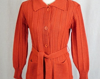 Vintage 1970's Women's Burnt Orange Cable Knit Sweater with Matching Belt