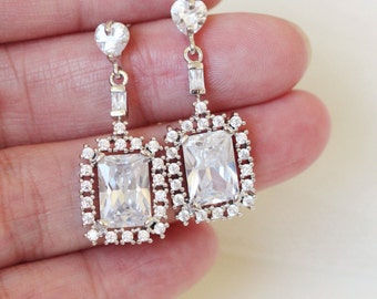 Crystal Bridal Earrings Art Deco Earrings Dangle Earrings Wedding Jewelry Anniversary Gift For Her Girlfriend Sister Prom Formal Jewelry