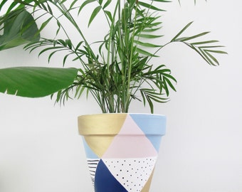 Hand Painted Plant Pot - Pastel Triangles