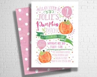 Pumpkin Birthday Invitation   Our Little Pumpkin Birthday Invite   Pumpkin Patch Birthday   Fall Birthday Invitation   DIGITAL FILE ONLY