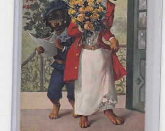 Unsigned Thiele?  Beautifully Dressed Dachshund Woman Hat & Flowers And Dachshund Son W More Flowers