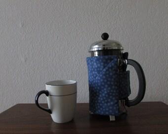 French Press Cozy - Denim Blue Dot Fabric