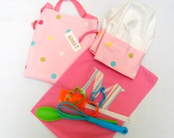 Kid's Bake Set, Baking Utensils & Apron, Chef Set, Baking Set for Kids, Boy's Nautical or Pink Polka Dot, Girl's Baking Gift with Utensils
