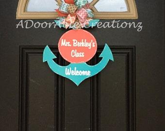 Anchor Door Hanger, Teacher Anchor Door Hanger, Personalized Anchor,Teacher Door Hanger, Classroom Decor, Nursery Decor, Gift for Teacher