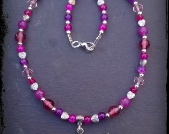 Beautiful pink Isis Egyptian goddess love necklace. Unique goddess jewellery.