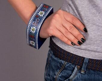 Ethnic jewelry Geometric jewelry Folk art jewelry Ukrainian fashion jewelry Blue bracelet Wood jewelry Blue bangle bracelets Wooden bangles