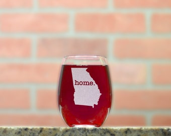 Custom Wine Glass. Stemless Wine Glass. Pick Any State and Letter Combination.