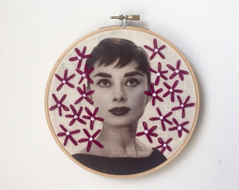 Embroidered Audrey Hepburn Hoop Red Daisies
