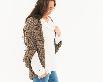 Ready To Ship! SALE - Chunky Knit Wool Sweater, Over Sized Crochet Shrug, Bat Wing Shawl, Women's Soft Knitted Winter Accessory, Cocoon