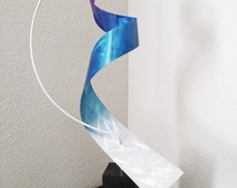 """Modern Abstract Metal Art Indoor Outdoor Decor Sculpture - Teal, Purple and Silver """"Moon"""" by Dustin Miller"""